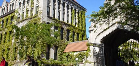 The University of Chicago's quad in Hyde Park features gothic architecture and ivy-covered walls.