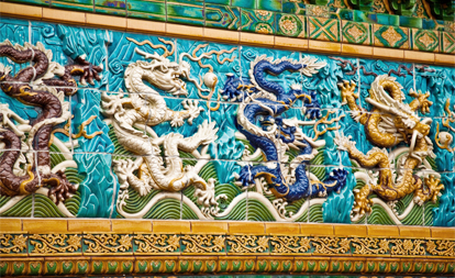 The vibrant Nine Dragon Wall welcomes visitors to Chicago's Chinatown!