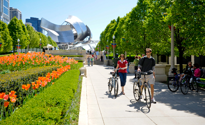 Biking in Millennium Park