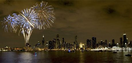 Fireworks light up the night sky above Navy Pier twice a week every summer.